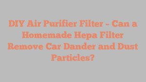 DIY Air Purifier Filter – Can a Homemade Hepa Filter Remove Car Dander and Dust Particles?
